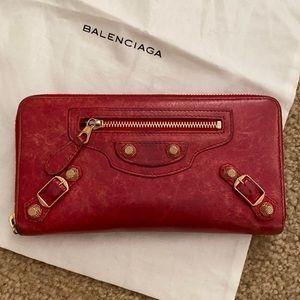 Balenciaga Giant Golden Continental Zip Wallet Red